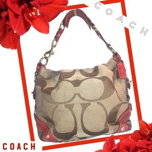 COACH Carly in Red Leather & Tan Signature Fabric
